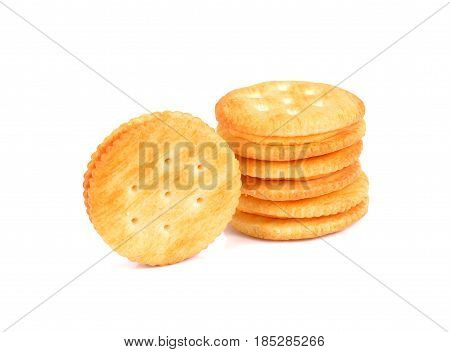 Cheese cream cracker isolated on white background. crispy cracker isolated