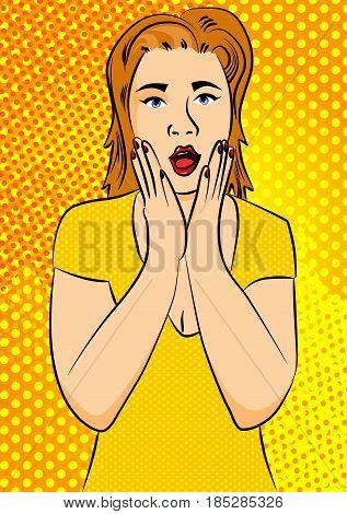 Retro classic comic book cartoon illustrated surprised woman.