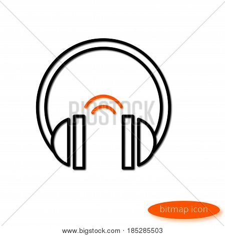 A Simple Illustration Of A Shadow Casting Line Drawing Audio Headphones With Orange Sound, A Flat Li