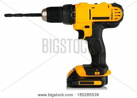 Modern drill screwdriver on white background side view