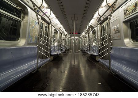 Empty subway car after evening rush hour