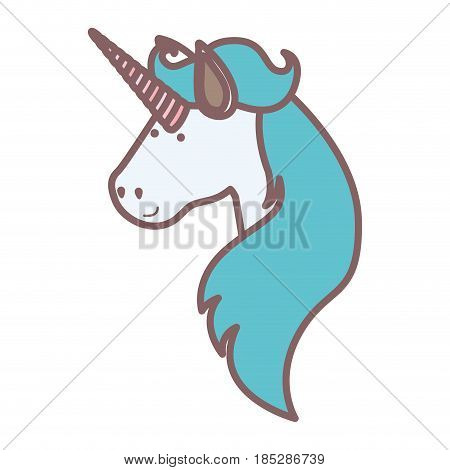 white background with face side view of male unicorn and long mane vector illustration
