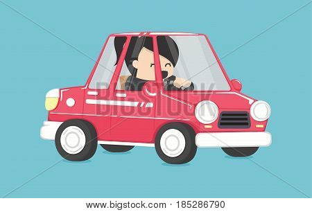 business woman driving Business woman in the car To Work Design Vector Illustration