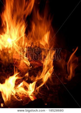 Fire burning in furnaces with dark background