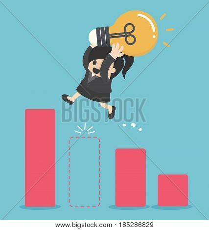 Business woman holding light bulb Jump Through The Gap In Growth Chart