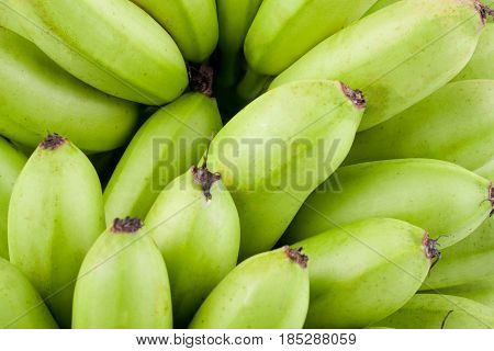 green  raw Golden bananas  on white background healthy Pisang Mas Banana fruit food isolated