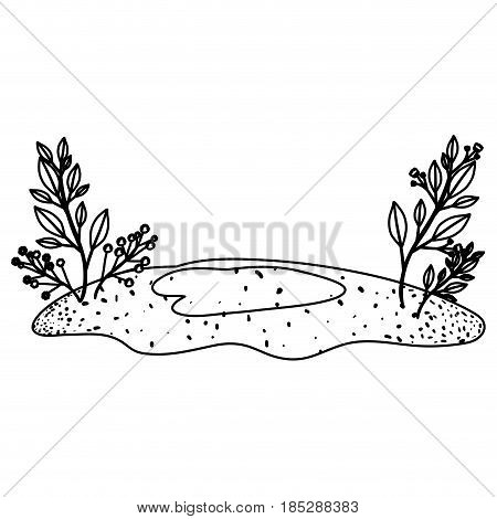 monochrome contour of floral landscape and grassy field vector illustration