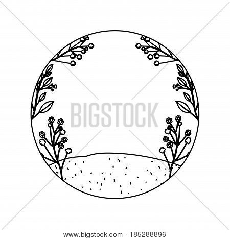 monochrome contour of floral landscape and grassy field in circular frame vector illustration