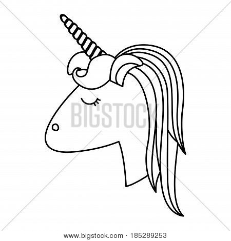 monochrome silhouette of face side view of female unicorn with striped mane vector illustration