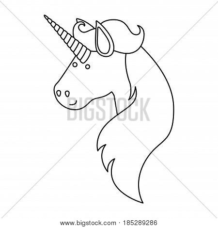 monochrome silhouette of face side view of male unicorn and long mane vector illustration