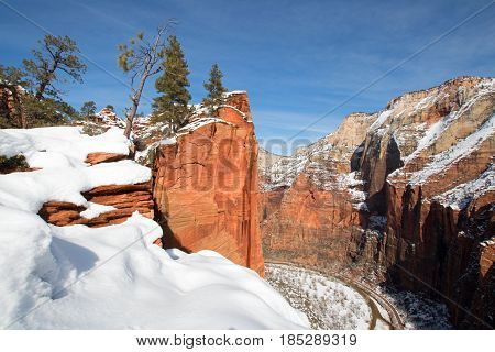 View from Scouts Lookout on Angels Landing Hiking Trail in Zion National Park in Utah USA