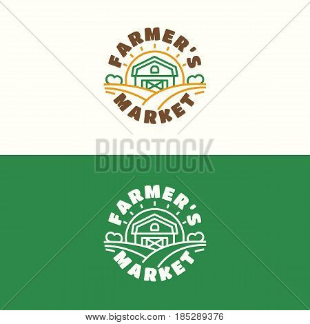Farmers market emblem set with cowshed and field color line style isolated on background for healthy food shop, natural product company, farming, vegan cafe, eco store, nature firm, garden