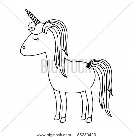 monochrome silhouette of cartoon unicorn standing with closed eyes and striped mane vector illustration