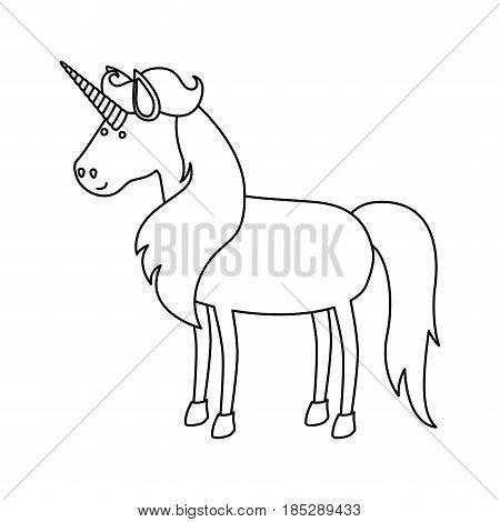 monochrome silhouette of cartoon unicorn standing with long mane vector illustration