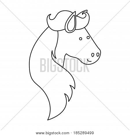monochrome silhouette of face side view right of male unicorn and long mane vector illustration