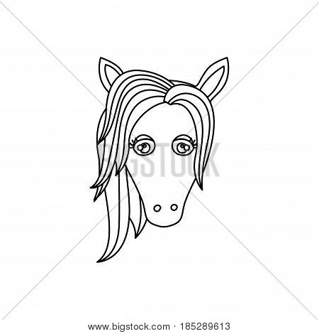 monochrome silhouette of front face of unicorn with mane to left side vector illustration