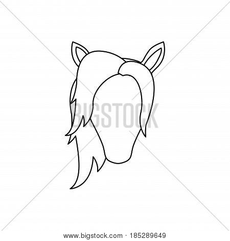 monochrome silhouette of front face of faceless unicorn with mane to left side vector illustration