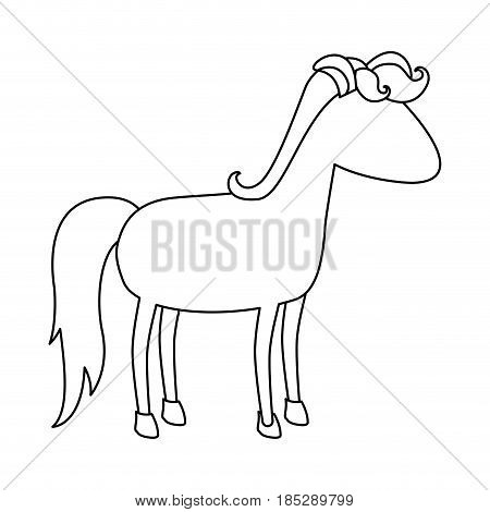 monochrome silhouette of cartoon faceless unicorn standing with mane and looking towards the right vector illustration