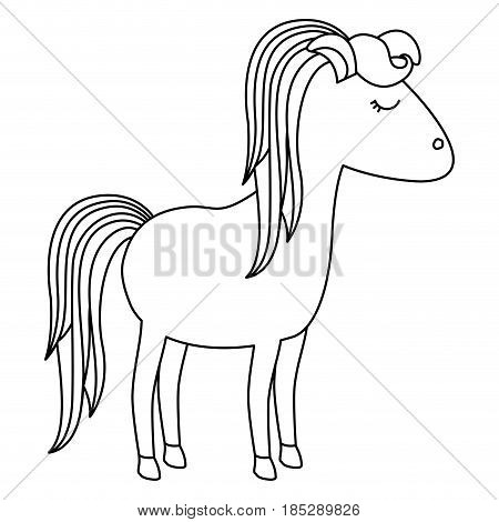 monochrome silhouette of cartoon unicorn standing with closed eyes and striped mane and looking towards the right vector illustration
