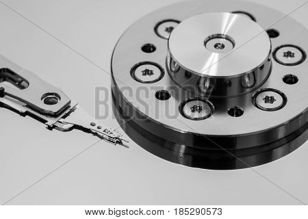 Closeup macro of the tiny parts on a hard disk drive read-write head