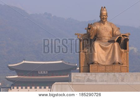 SEOUL SOUTH KOREA - OCTOBER 20, 2016: King Sejong monument Seoul Korea. King Sejoong was the fourth king of Joseon-dynasty Korea.