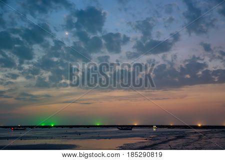 Fishing Boats And Cloud Sky At Sea Thailand