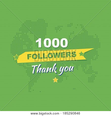 Thank You For 1000 Followers. Greeting Card In Honor Of The Celebration. Flat Vector Illustration Ep