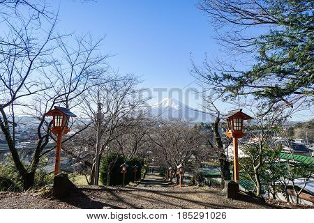 walkway at Chureito Pagoda for Fuji mountain sightseeing taken in the morning in Japan on 6 December 2016