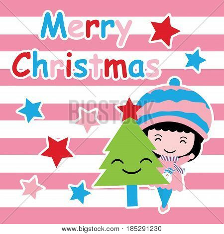 Cute girl, Xmas tree and stars on pink striped background vector cartoon, Xmas postcard, wallpaper, and greeting card, T-shirt design for kids