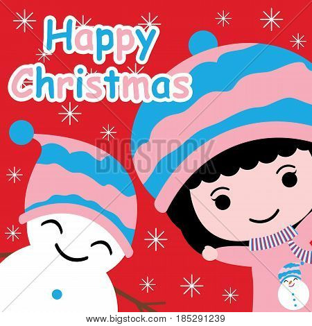 Cute girl and snowman on snowflakes background vector cartoon, Xmas postcard, wallpaper, and greeting card, T-shirt design for kids