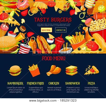 Fast food restaurant vector landing page template for web site design. Delivery of burgers and hot dog or cheeseburger sandwiches, french fries or chicken grill snacks and ice cream desserts