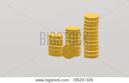 3d coin stack on gray background. 3d coin stack sign. 3d coin stack symbol.