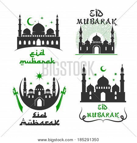 Eid Mubarak greetings set of mosque, crescent moon and twinkling star, swords or sabers and Arabic calligraphy for Islamic or Muslim traditional religious Blessed Celebration. Vector isolated icons