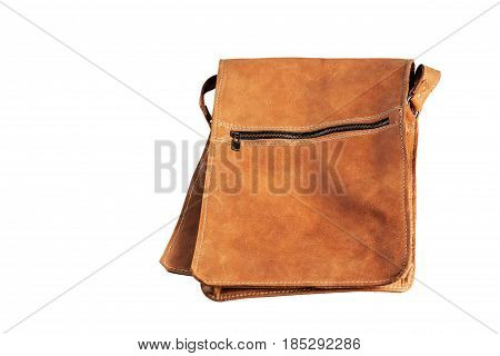 Brown leather bag on a white background.