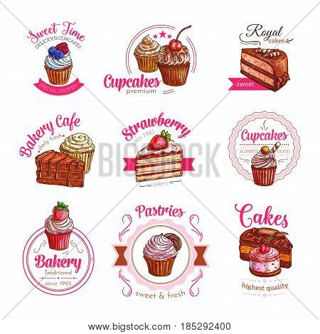 Pastry cakes and cupcakes desserts vector icons for patisserie or cafeteria menu design. Chocolate tiramisu or brownie torte, cherry pie or sweet candy muffin and charlotte pudding with ribbons