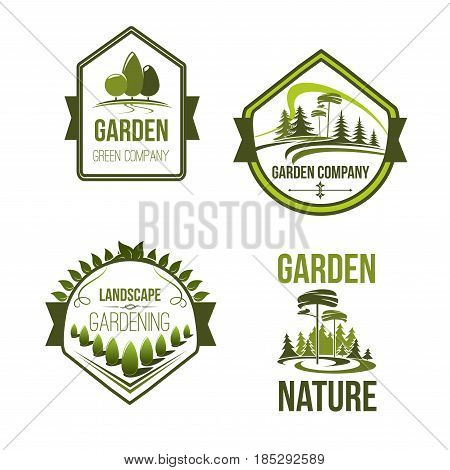Landscape and gardening company icons set. Vector outdoor nature and woodlands landscape of village or urban city park trees. Garden landscaping design and greenery planting association labels