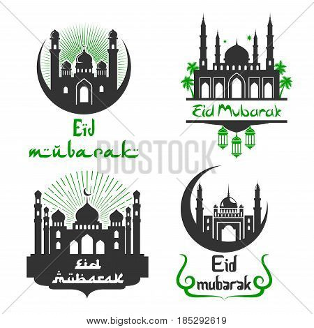 Eid Mubarak greetings for Arabic religious celebration. Vector icons set of mosque in crescent moon and twinkling star. Calligraphy text for Islamic or Muslim traditional Blessed Eid Mubarak