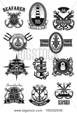 Marine and nautical heraldic icons set. Vector isolated symbols and badges of seafarer ship helm and anchor, lighthouse or life buoy, captain sailor navigator compass and voyager trident on chains