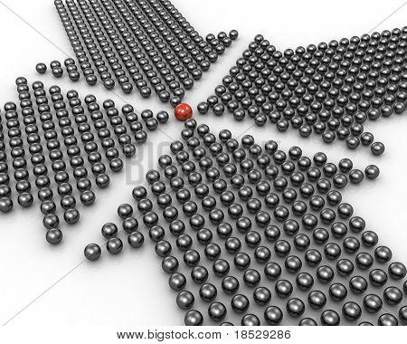 Четыре стрелки точку на выдающиеся красный шар, образованном 3d иллюстрация сферах