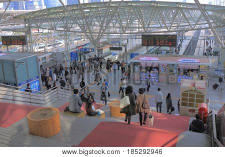 SEOUL SOUTH KOREA - OCTOBER 20, 2016: Unidentified people travel at Seoul train station in Seoul.