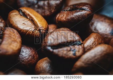 Black Coffee beans close-up extreme macro photography