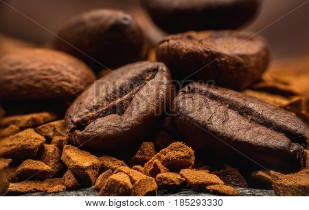 Instant Coffee and beans close-up extreme macro photography