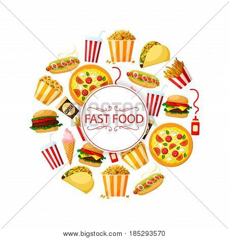 Fast food restaurant vector poster or menu design of sandwiches, burgers and desserts. Grill chicken cheeseburger and hamburger, hot dog and french fries, soda drink and ice cream or cookie desserts