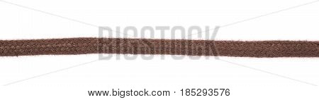 Fragment of a shoelace isolated over the white background