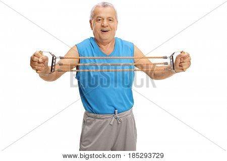 Mature man exercising with a resistance band isolated on white background