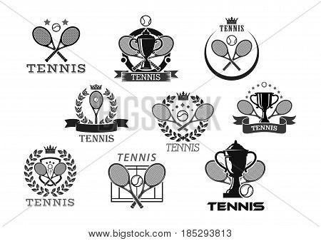 Tennis club vector icons or tournament badges. Isolated symbols of tennis ball and crossed rackets, victory cup and champion winner laurel wreath or ribbon with crown and stars for sport championship