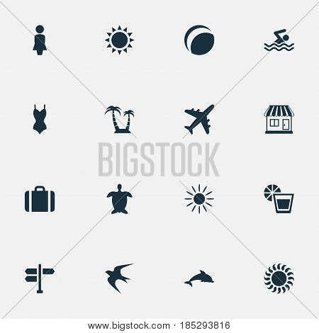 Vector Illustration Set Of Simple Beach Icons. Elements Swallow, Beach Games, Woman And Other Synonyms Aquatic, Store And Adventure.