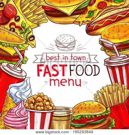 Fast food menu cover for fastfood restaurant. Design of burgers, drinks, sandwiches or combo menu and desserts. Chicken grill legs and wings, ice cream, cheeseburger or hamburger, hot dog and popcorn