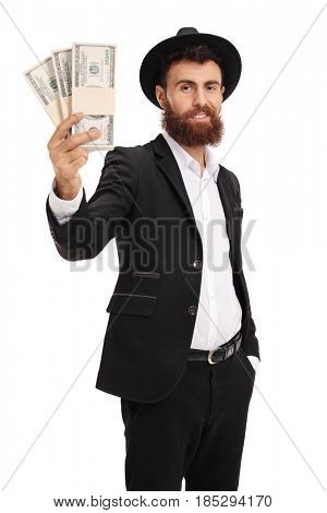 Handsome bearded man holding a money bundle isolated on white background
