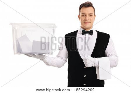 Butler holding a ballot box filled with votes isolated on white background